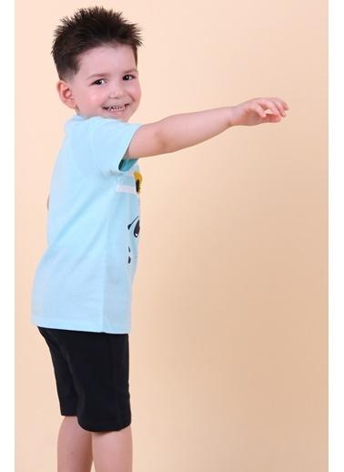 Breeze Erkek Çocuk Şort Takım Kulakları Hareketli Kaplan Baskılı Turkuaz (1-4 Yaş) Turkuaz
